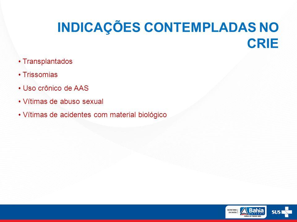 INDICAÇÕES CONTEMPLADAS NO CRIE Transplantados Trissomias Uso crônico de AAS Vítimas de abuso sexual Vítimas de acidentes com material biológico