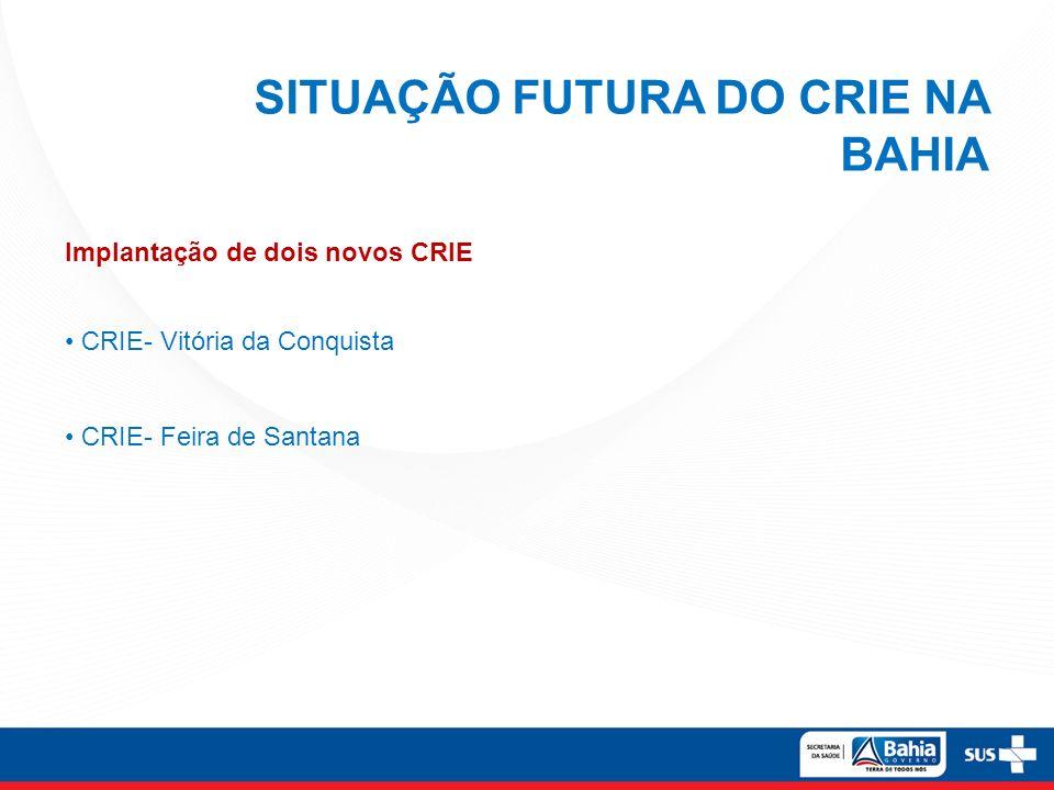 SITUAÇÃO FUTURA DO CRIE NA BAHIA Implantação de dois novos CRIE CRIE- Vitória da Conquista CRIE- Feira de Santana