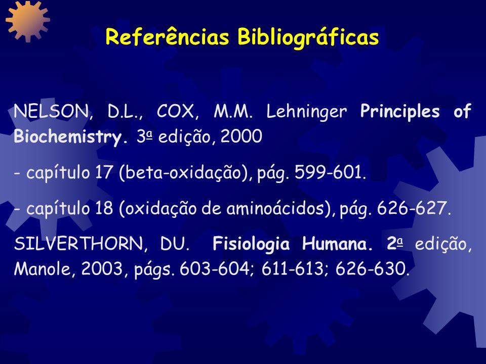 Referências Bibliográficas NELSON, D.L., COX, M.M.