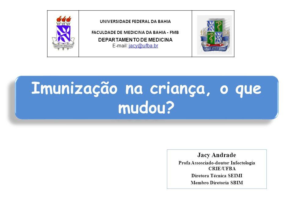 Jacy Andrade Profa Assosciado-doutor Infectologia CRIE/UFBA Diretora Técnica SEIMI Membro Diretoria SBIM Imunização na criança, o que mudou? UNIVERSID