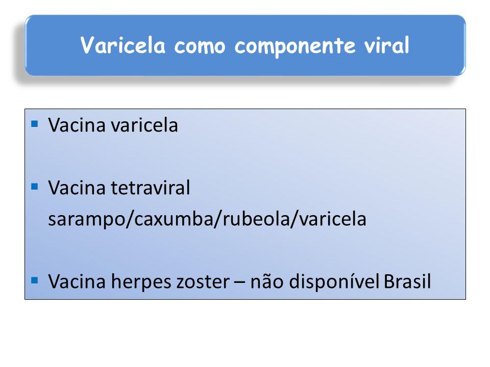 Vacina varicela Vacina tetraviral sarampo/caxumba/rubeola/varicela Vacina herpes zoster – não disponível Brasil Varicela como componente viral
