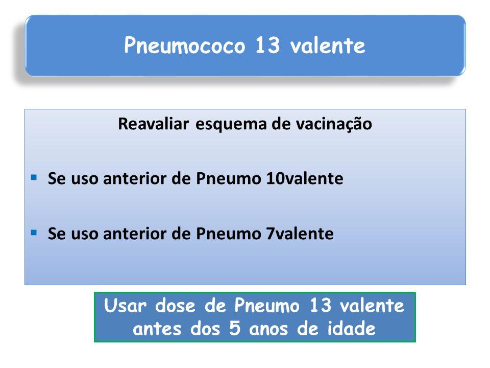 Reavaliar esquema de vacinação Se uso anterior de Pneumo 10valente Se uso anterior de Pneumo 7valente Pneumococo 13 valente Usar dose de Pneumo 13 val
