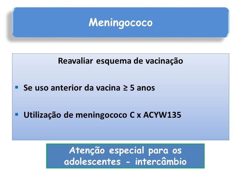 Reavaliar esquema de vacinação Se uso anterior da vacina 5 anos Utilização de meningococo C x ACYW135 Meningococo Atenção especial para os adolescente