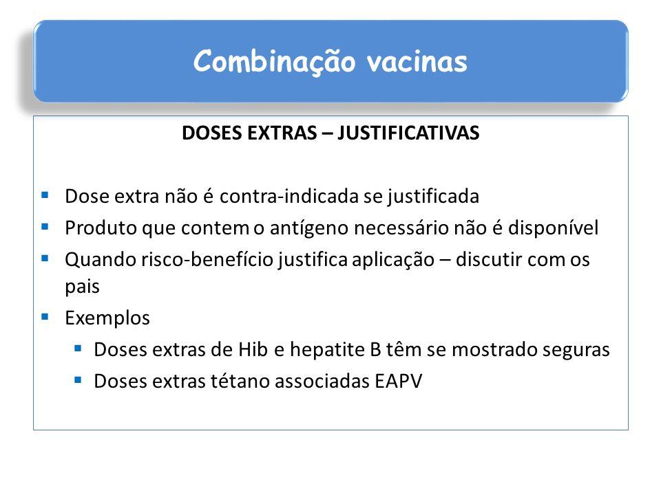 COMBINAÇÃO VACINAS Diminui número injeções - crescente aumento vacinas calendário vacinal Disponibilidade local anatômico para aplicação Contribui para aumentar cobertura vacinal Reduz numero visitas Maior adesão Diminui custos aplicação e armazenamento Facilita atualização calendário vacinal Facilita introdução novas vacinas no calendário vacinal Combinação de vacinas