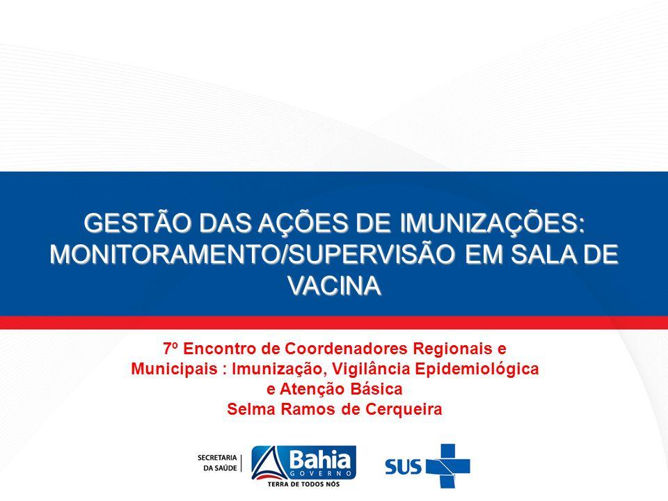 GESTÃO DAS AÇÕES DE IMUNIZAÇÕES: MONITORAMENTO/SUPERVISÃO EM SALA DE VACINA 7º Encontro de Coordenadores Regionais e Municipais : Imunização, Vigilânc