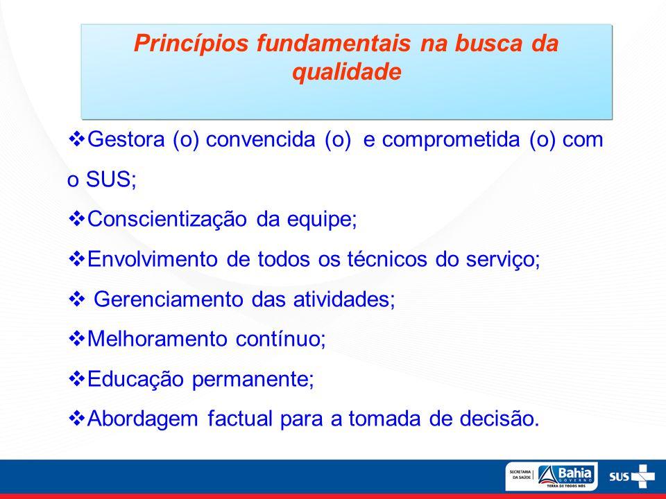 Princípios fundamentais na busca da qualidade Gestora (o) convencida (o) e comprometida (o) com o SUS; Conscientização da equipe; Envolvimento de todo