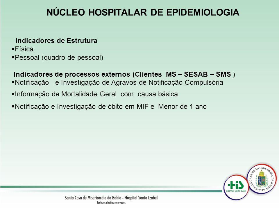 NÚCLEO HOSPITALAR DE EPIDEMIOLOGIA Indicadores de Estrutura Física Pessoal (quadro de pessoal) Indicadores de processos externos (Clientes MS – SESAB