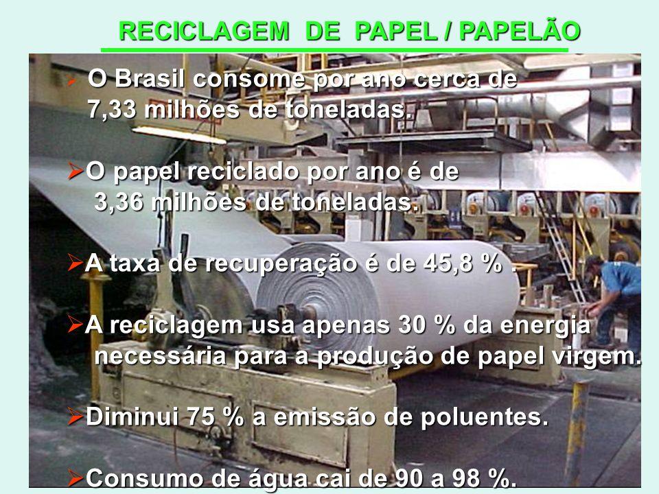 RECICLAGEM DE PAPEL / PAPELÃO O Brasil consome por ano cerca de 7,33 milhões de toneladas. 7,33 milhões de toneladas. O papel reciclado por ano é de O