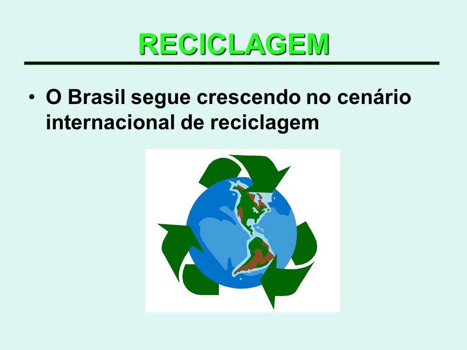 RECICLAGEM O Brasil segue crescendo no cenário internacional de reciclagem