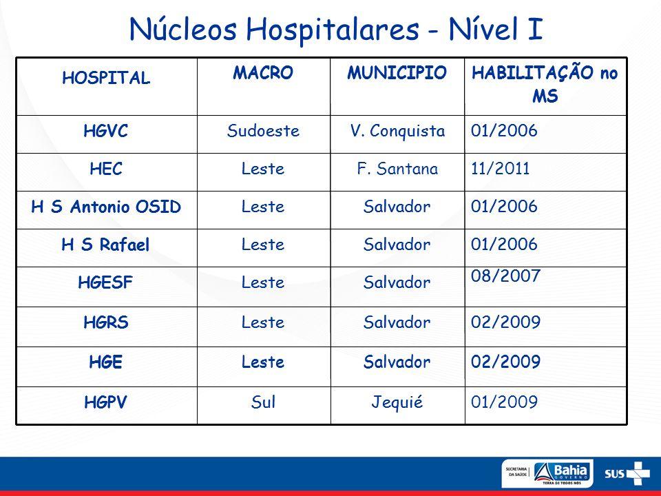 Núcleos Hospitalares - Nível II 01/2006 (Nível I) 12/2007 (Nível II) SalvadorLesteH.