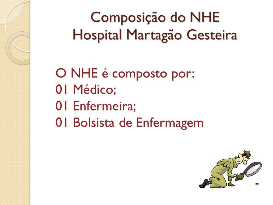 Composição do NHE Hospital Martagão Gesteira O NHE é composto por: 01 Médico; 01 Enfermeira; 01 Bolsista de Enfermagem