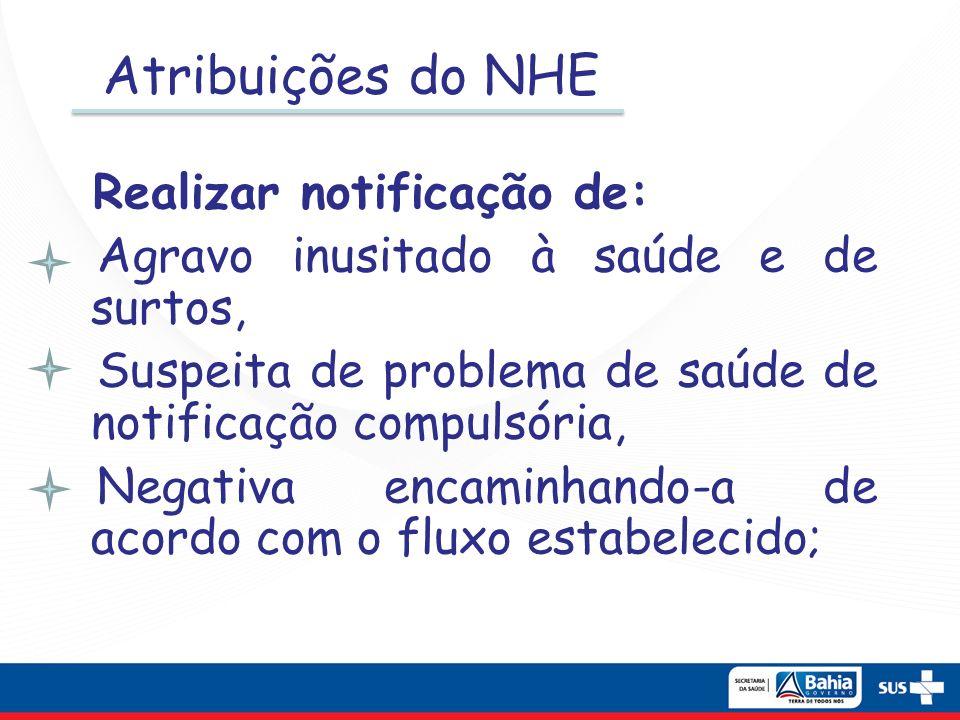 Atribuições do NHE Realizar notificação de: Agravo inusitado à saúde e de surtos, Suspeita de problema de saúde de notificação compulsória, Negativa e
