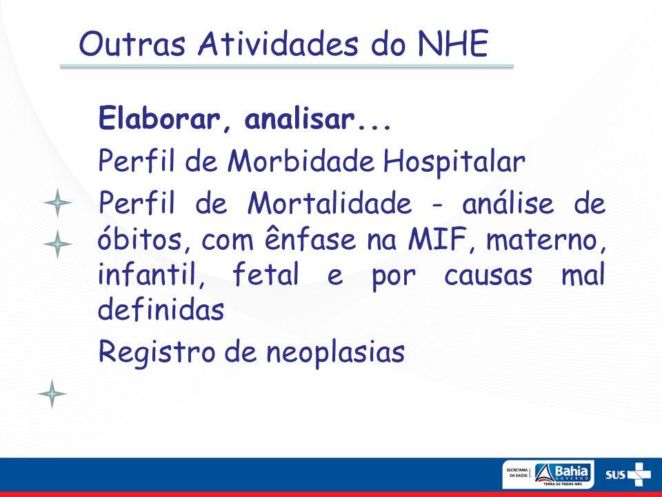 Outras Atividades do NHE Elaborar, analisar... Perfil de Morbidade Hospitalar Perfil de Mortalidade - análise de óbitos, com ênfase na MIF, materno, i