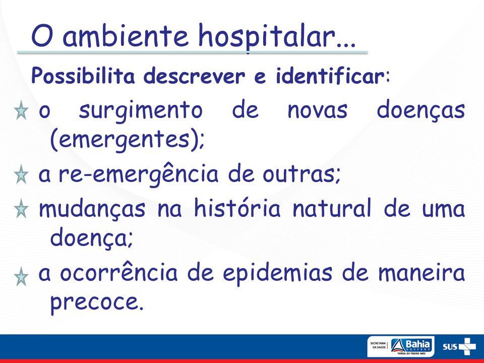 O ambiente hospitalar... Possibilita descrever e identificar: o surgimento de novas doenças (emergentes); a re-emergência de outras; mudanças na histó