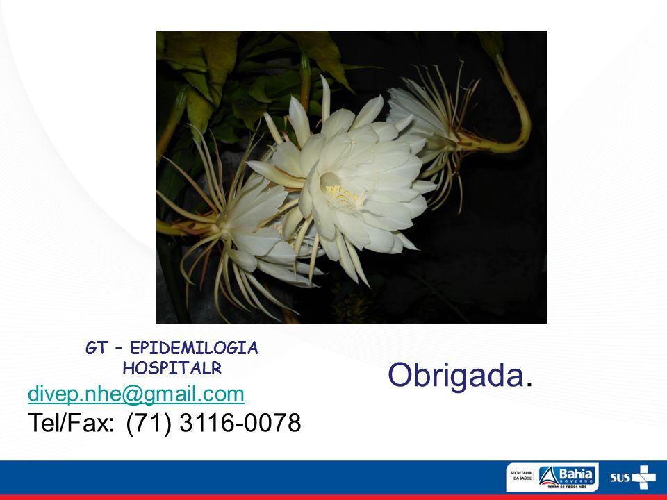 Obrigada. GT – EPIDEMILOGIA HOSPITALR divep.nhe@gmail.com Tel/Fax: (71) 3116-0078