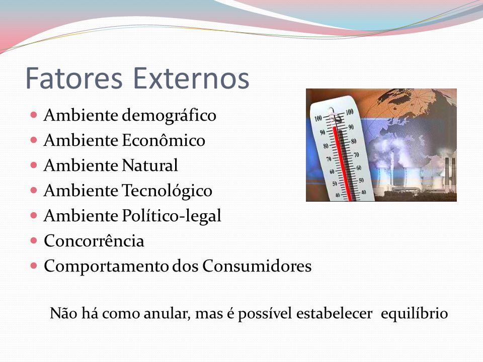 Fatores Externos Ambiente demográfico Ambiente Econômico Ambiente Natural Ambiente Tecnológico Ambiente Político-legal Concorrência Comportamento dos