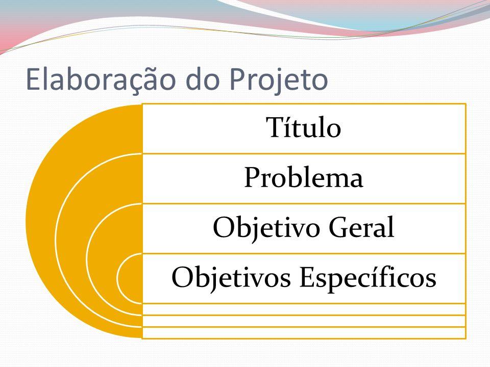 Elaboração do Projeto Título Problema Objetivo Geral Objetivos Específicos