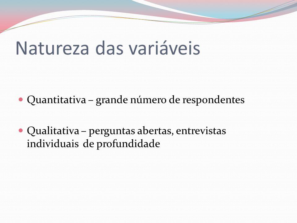 Natureza das variáveis Quantitativa – grande número de respondentes Qualitativa – perguntas abertas, entrevistas individuais de profundidade