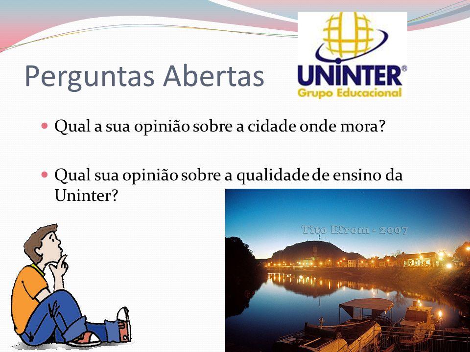 Perguntas Abertas Qual a sua opinião sobre a cidade onde mora? Qual sua opinião sobre a qualidade de ensino da Uninter?