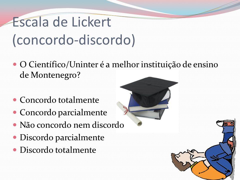 Escala de Lickert (concordo-discordo) O Científico/Uninter é a melhor instituição de ensino de Montenegro? Concordo totalmente Concordo parcialmente N