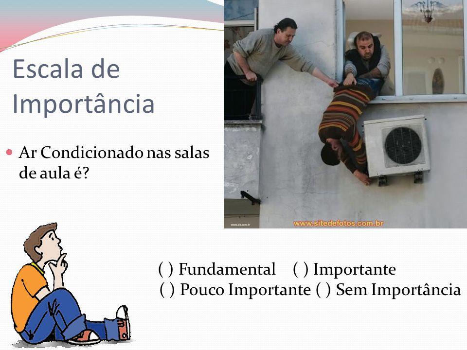 Escala de Importância Ar Condicionado nas salas de aula é? ( ) Fundamental ( ) Importante ( ) Pouco Importante ( ) Sem Importância