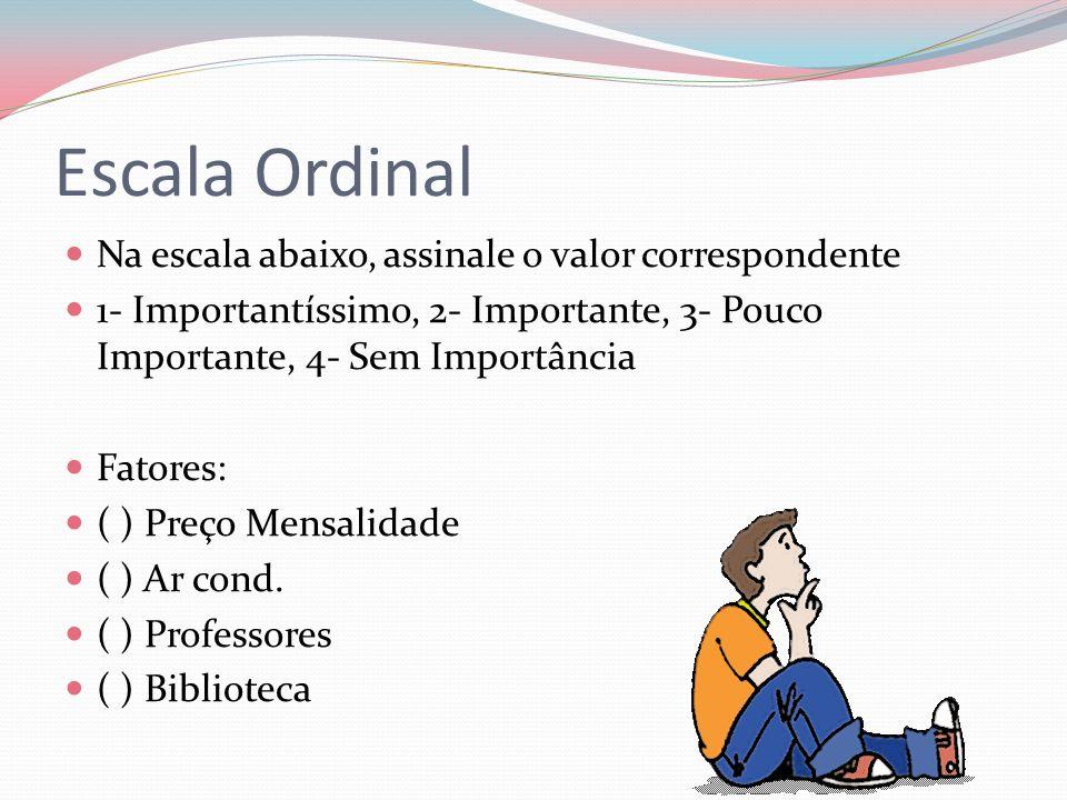 Escala Ordinal Na escala abaixo, assinale o valor correspondente 1- Importantíssimo, 2- Importante, 3- Pouco Importante, 4- Sem Importância Fatores: (