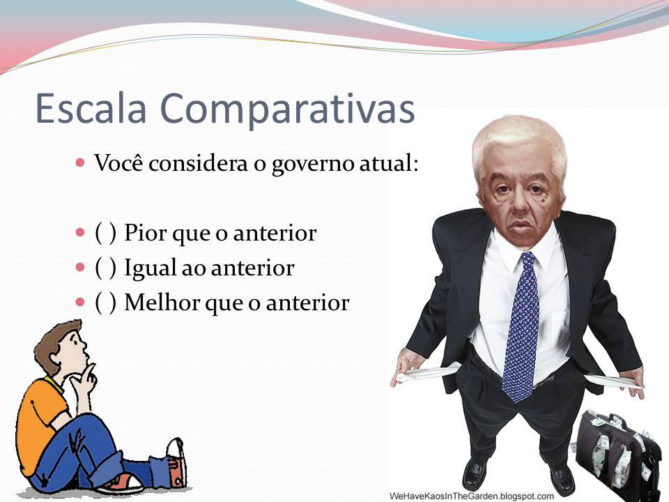 Escala Comparativas Você considera o governo atual: ( ) Pior que o anterior ( ) Igual ao anterior ( ) Melhor que o anterior