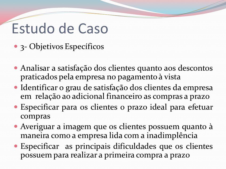 Estudo de Caso 3- Objetivos Específicos Analisar a satisfação dos clientes quanto aos descontos praticados pela empresa no pagamento à vista Identific