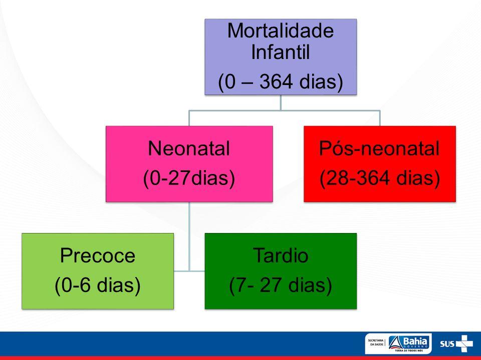 Mortalidade Infantil (0 – 364 dias) Neonatal (0-27dias) Precoce (0-6 dias) Tardio (7- 27 dias) Pós-neonatal (28-364 dias)