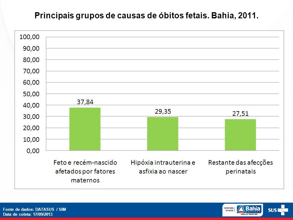 Principais grupos de causas de óbitos fetais. Bahia, 2011. Fonte de dados: DATASUS / SIM Data de coleta: 17/09/2013