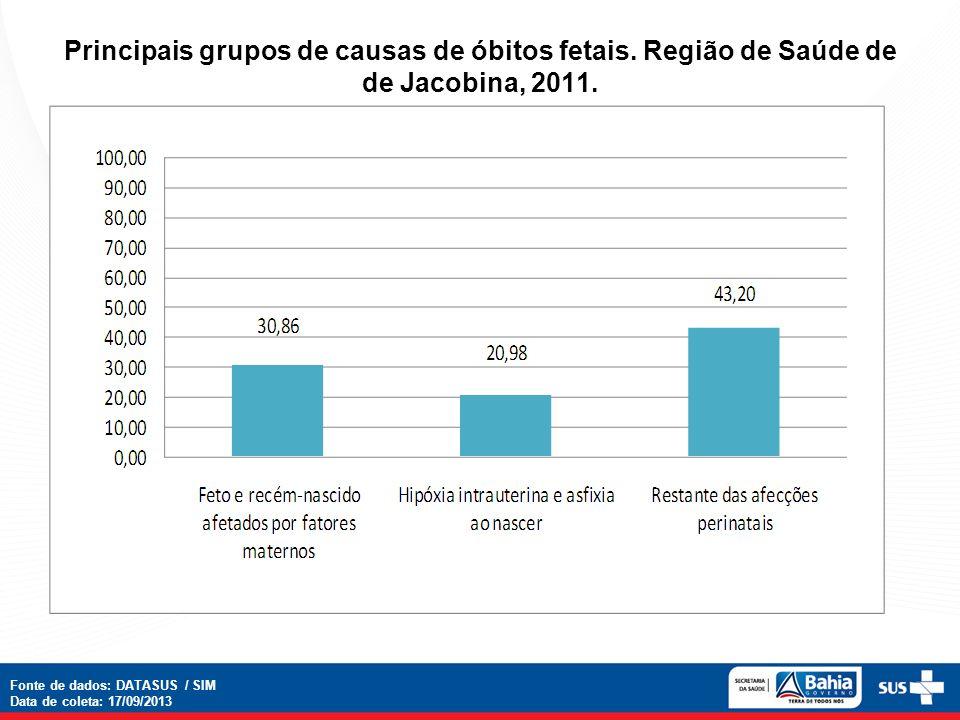 Principais grupos de causas de óbitos fetais. Região de Saúde de de Jacobina, 2011. Fonte de dados: DATASUS / SIM Data de coleta: 17/09/2013