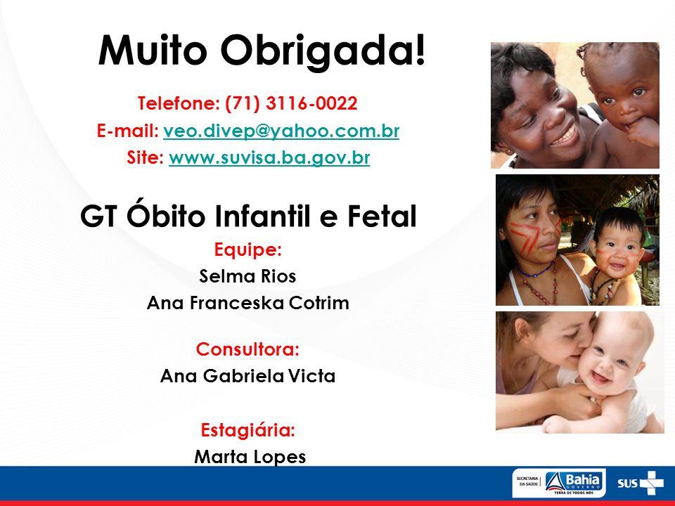 Muito Obrigada! Telefone: (71) 3116-0022 E-mail: veo.divep@yahoo.com.br veo.divep@yahoo.com.br Site: www.suvisa.ba.gov.br www.suvisa.ba.gov.br GT Óbit
