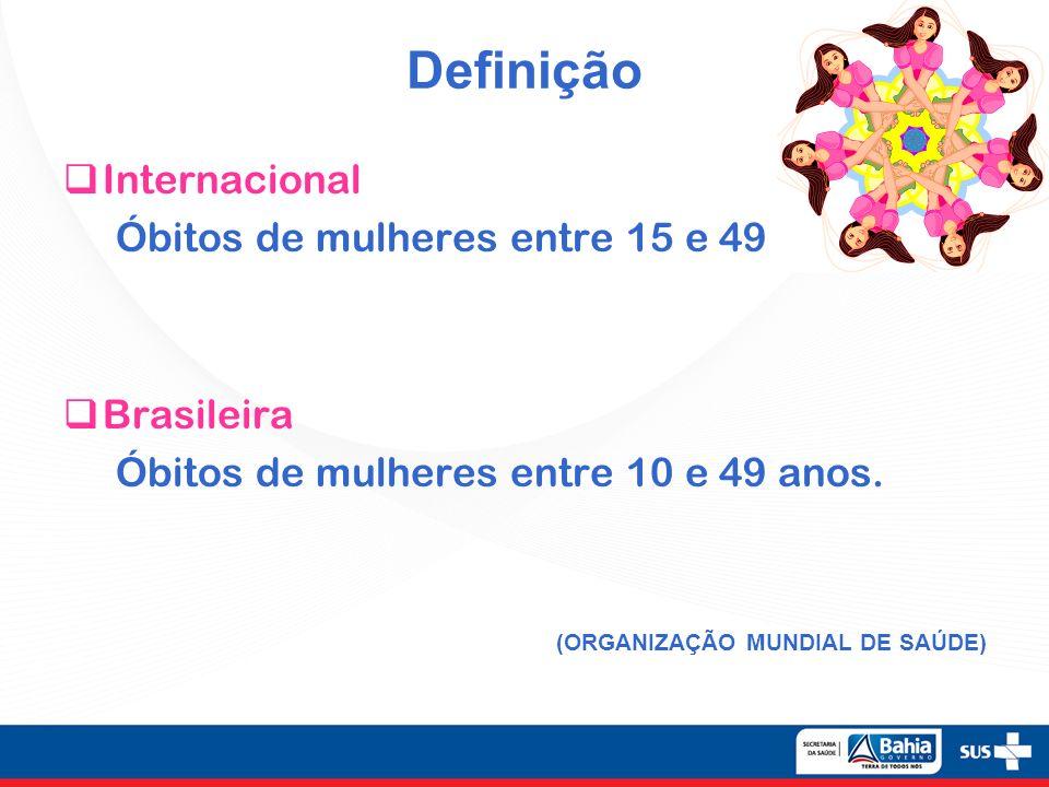 Definição Internacional Óbitos de mulheres entre 15 e 49 anos. Brasileira Óbitos de mulheres entre 10 e 49 anos. (ORGANIZAÇÃO MUNDIAL DE SAÚDE)