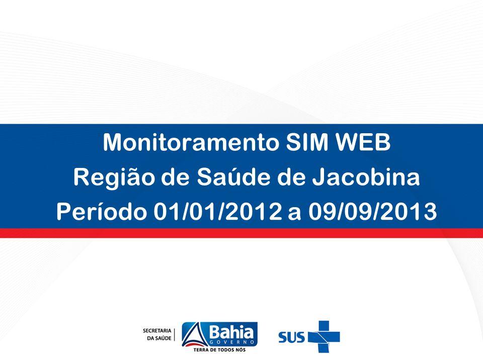 Monitoramento SIM WEB Região de Saúde de Jacobina Período 01/01/2012 a 09/09/2013