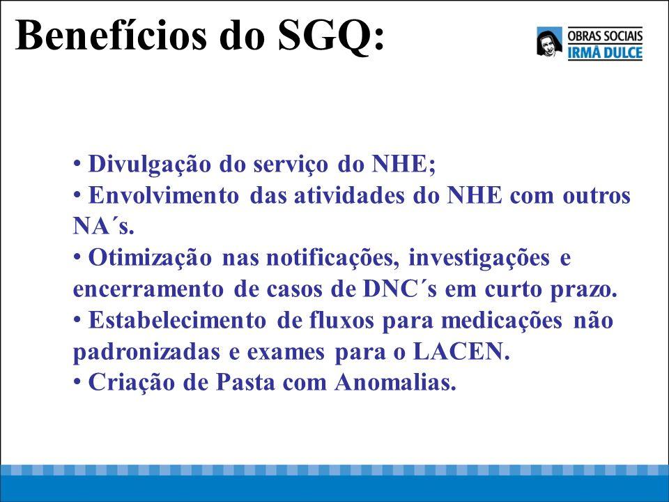 Divulgação do serviço do NHE; Envolvimento das atividades do NHE com outros NA´s. Otimização nas notificações, investigações e encerramento de casos d