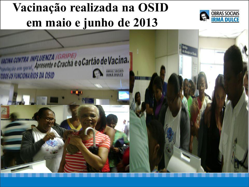 V Vacinação realizada na OSID em maio e junho de 2013
