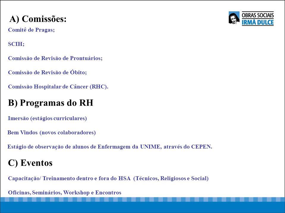 Comitê de Pragas; SCIH; Comissão de Revisão de Prontuários; Comissão de Revisão de Óbito; Comissão Hospitalar de Câncer (RHC). B) Programas do RH Imer