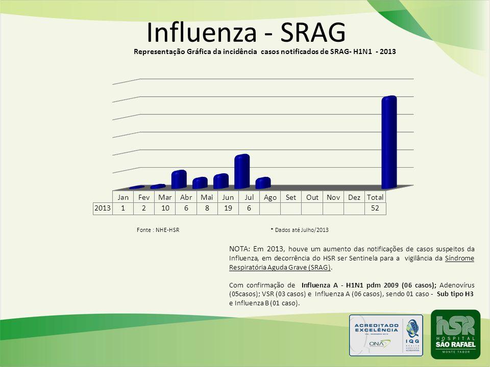 Influenza - SRAG NOTA: Em 2013, houve um aumento das notificações de casos suspeitos da Influenza, em decorrência do HSR ser Sentinela para a vigilânc