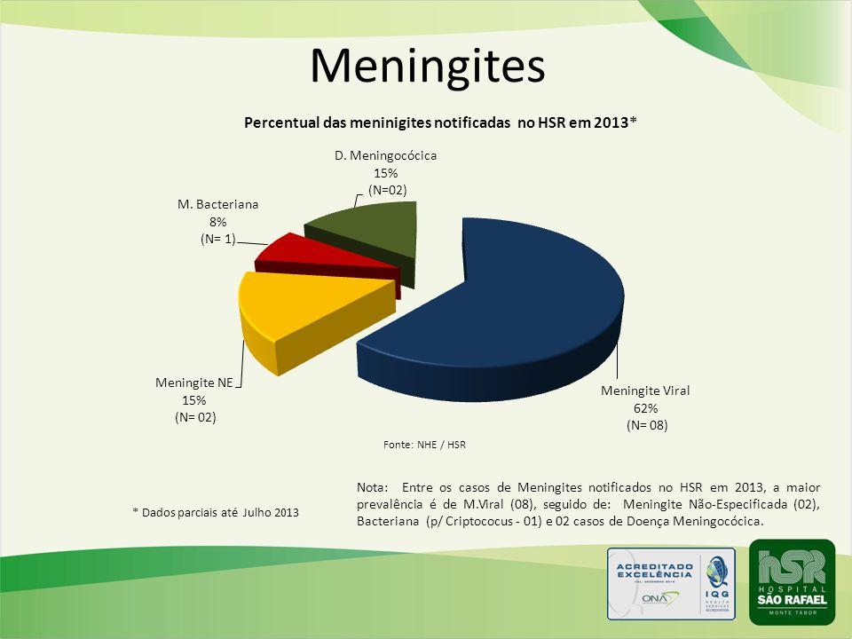 Meningites Nota: Entre os casos de Meningites notificados no HSR em 2013, a maior prevalência é de M.Viral (08), seguido de: Meningite Não-Especificad