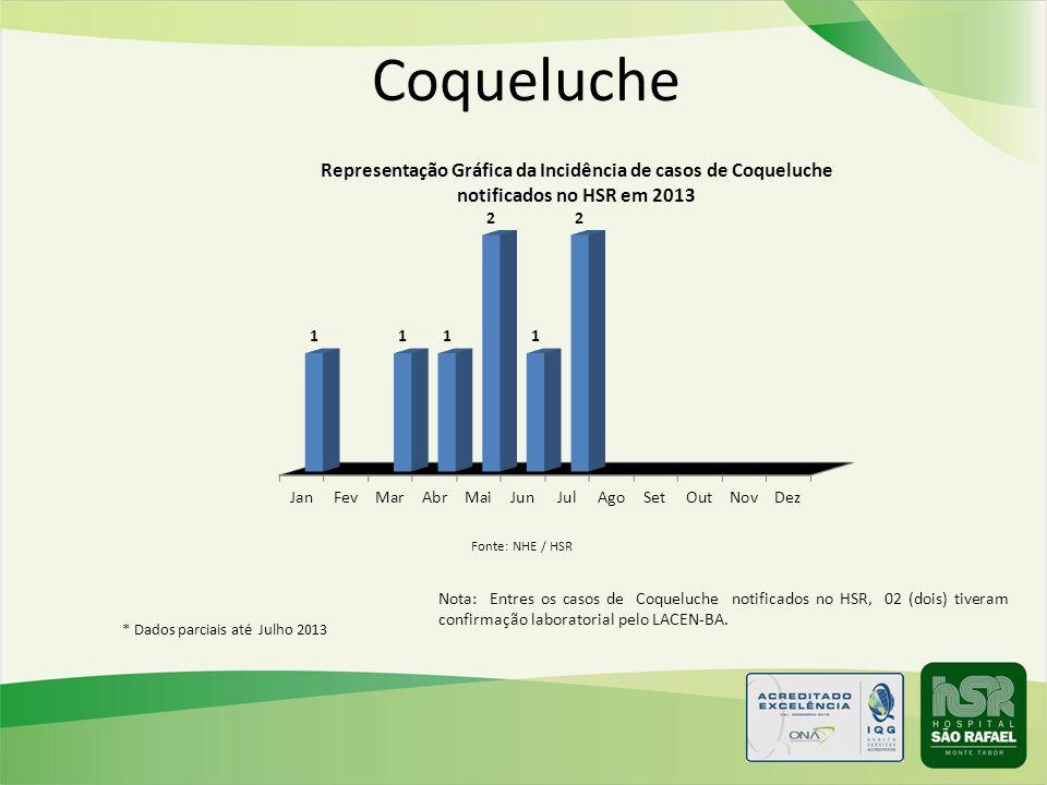 Coqueluche Nota: Entres os casos de Coqueluche notificados no HSR, 02 (dois) tiveram confirmação laboratorial pelo LACEN-BA. * Dados parciais até Julh