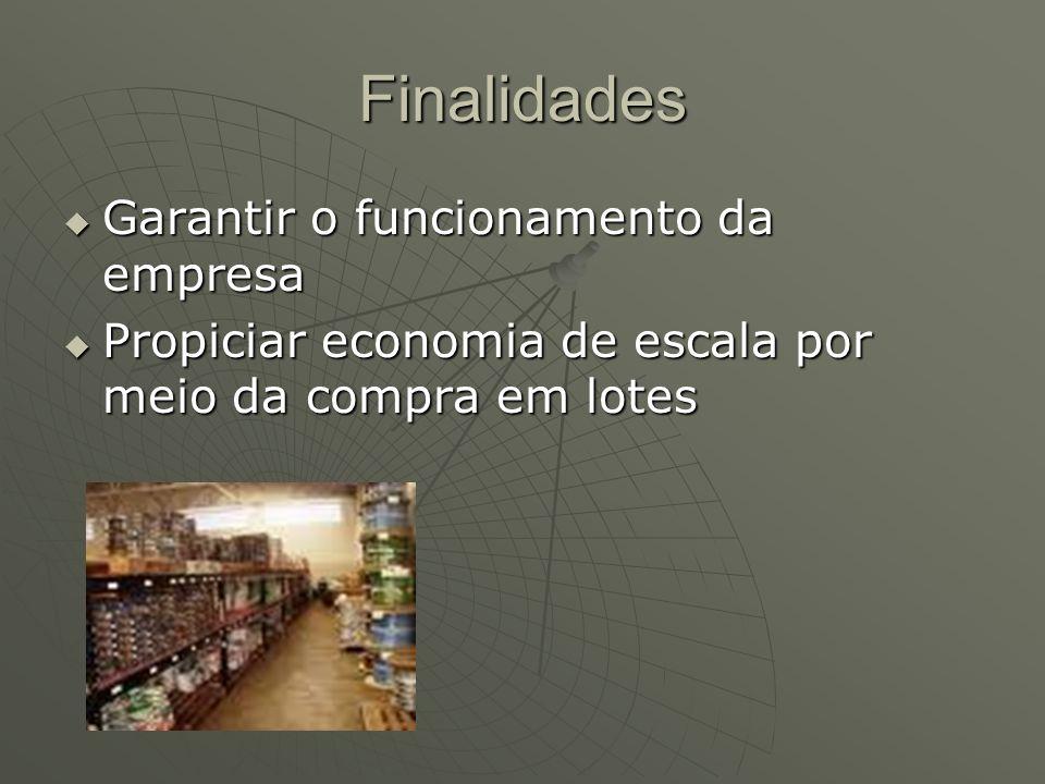 Finalidades Garantir o funcionamento da empresa Garantir o funcionamento da empresa Propiciar economia de escala por meio da compra em lotes Propiciar