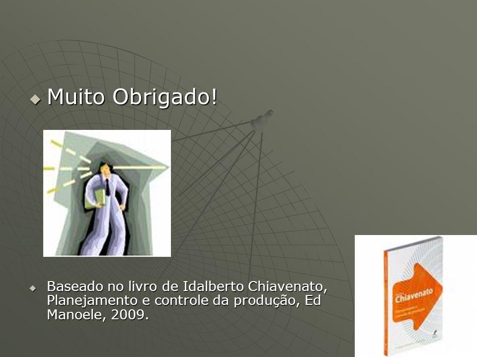 Muito Obrigado! Muito Obrigado! Baseado no livro de Idalberto Chiavenato, Planejamento e controle da produção, Ed Manoele, 2009. Baseado no livro de I