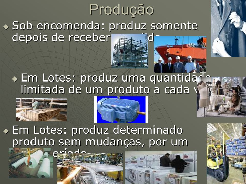 Produção Sob encomenda: produz somente depois de receber o pedido Sob encomenda: produz somente depois de receber o pedido Em Lotes: produz uma quanti