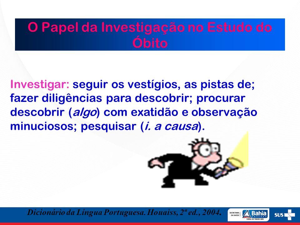 O Papel da Investigação no Estudo do Óbito Investigar: seguir os vestígios, as pistas de; fazer diligências para descobrir; procurar descobrir (algo)
