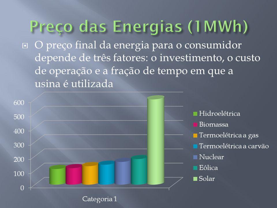 O preço final da energia para o consumidor depende de três fatores: o investimento, o custo de operação e a fração de tempo em que a usina é utilizada