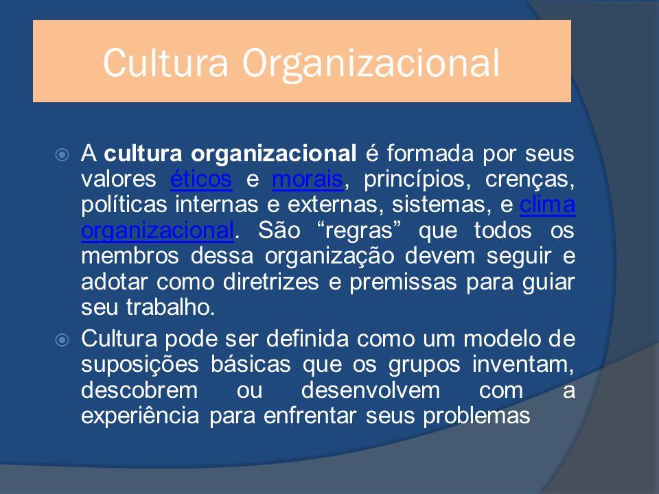 Cultura Organizacional A cultura organizacional é formada por seus valores éticos e morais, princípios, crenças, políticas internas e externas, sistemas, e clima organizacional.