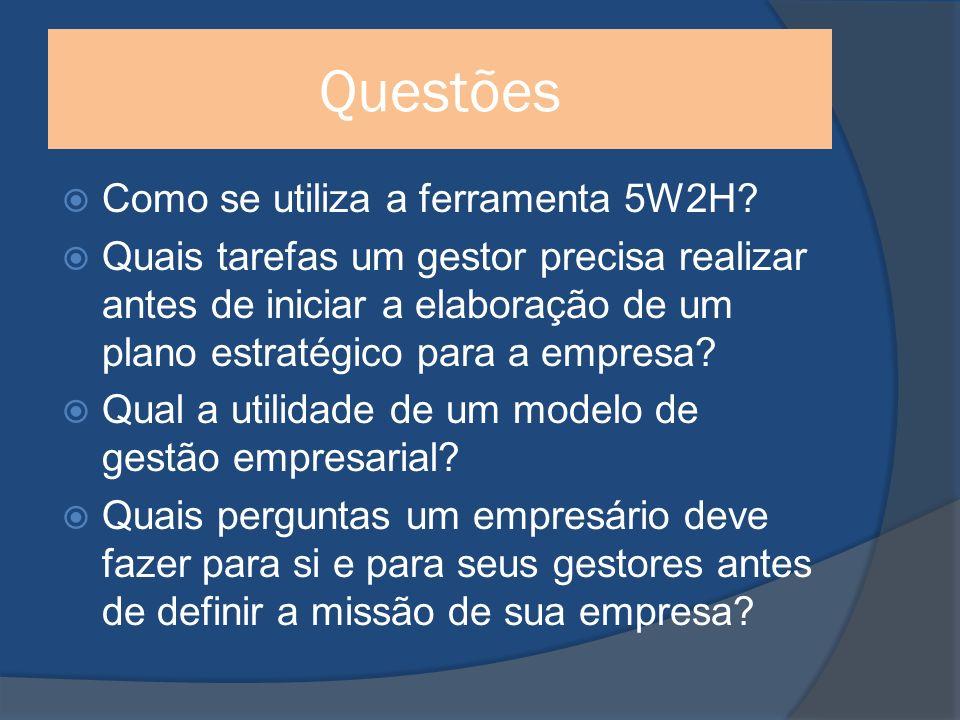 Questões Como se utiliza a ferramenta 5W2H.