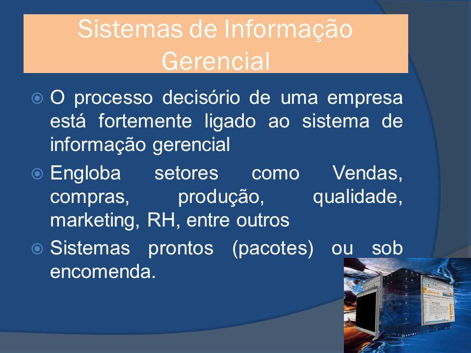 Sistemas de Informação Gerencial O processo decisório de uma empresa está fortemente ligado ao sistema de informação gerencial Engloba setores como Vendas, compras, produção, qualidade, marketing, RH, entre outros Sistemas prontos (pacotes) ou sob encomenda.
