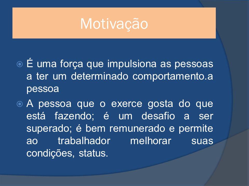 Motivação É uma força que impulsiona as pessoas a ter um determinado comportamento.a pessoa A pessoa que o exerce gosta do que está fazendo; é um desafio a ser superado; é bem remunerado e permite ao trabalhador melhorar suas condições, status.