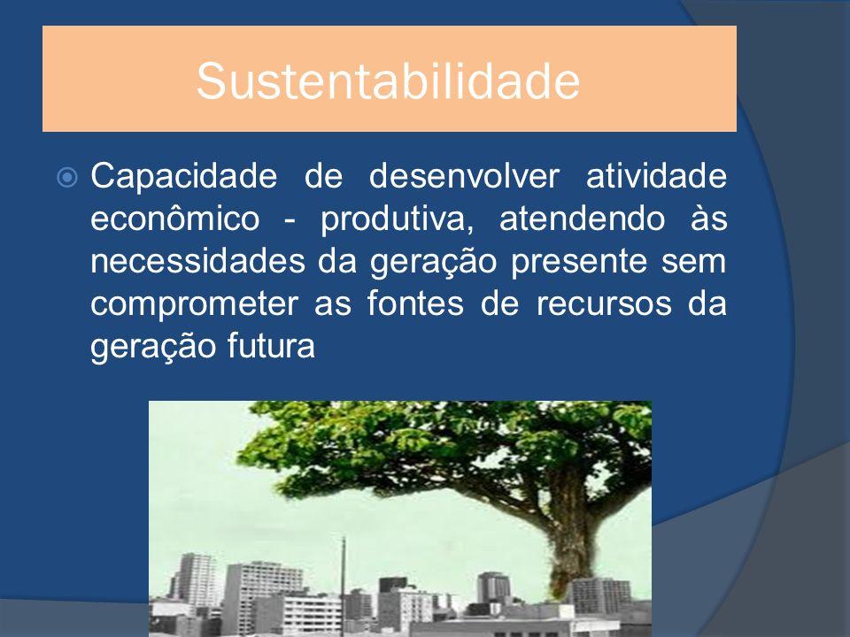 Sustentabilidade Capacidade de desenvolver atividade econômico - produtiva, atendendo às necessidades da geração presente sem comprometer as fontes de recursos da geração futura